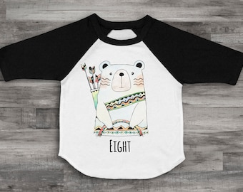Eight Bear Shirt 8th Birthday Shirt Unisex 8th Birthday Top Eight Shirt Kids 8th Birthday Shirt 8th Birthday Bear Birthday Raglan Bear Shirt