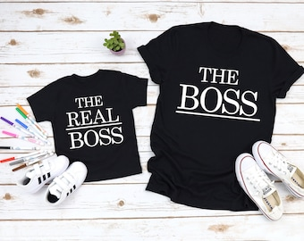 7b0222cb The Boss The Real Boss Daddy and Me Shirts Mommy and Me Shirt Funny Family Shirts  Matching Dad and Baby Shirts Funny Dad Shirts