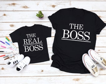 5ca9a05c5f The Boss The Real Boss Daddy and Me Shirts Mommy and Me Shirt Funny Family Shirts  Matching Dad and Baby Shirts Funny Dad Shirts
