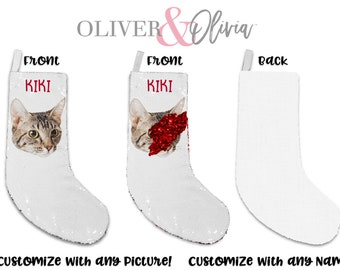 70f033af385 Personalized Christmas Cat Stocking Customize Any Picture Sequin Stocking  Personalize Stocking Personalized Picture Stocking Sequin Gift