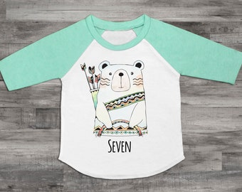 Seven Bear Shirt 7th Birthday Shirt Unisex 7th Birthday Top Seven Shirt Kids 7th Birthday Shirt 7th Birthday Bear Birthday Raglan Shirt