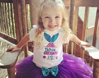 Girls 8th Birthday Outfit Mermaid Shirt