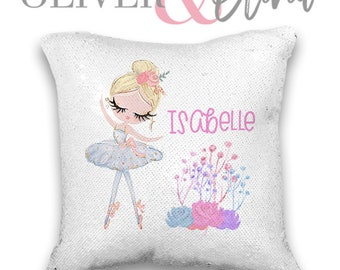 97020c956d Personalized Ballerina Pillow Rose Gold Ballerina Pillow Personalized Ballerina  Pillow Sequin Changing Pillow Personalized Pillow 16x16