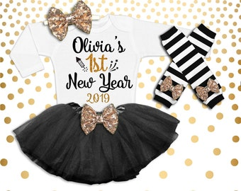 New Year s Outfit Baby Girl 1st New Year s Outfit New Year s Tutu 1st New  Years Shirt Baby Girl New Years It s my 1st New Year Outfit 9c6aeece27cc