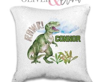749ea8ea57b Personalized Dinosaur Gift Personalized T-Red Pillow Personalized Dinosaur  Pillow Name Gift