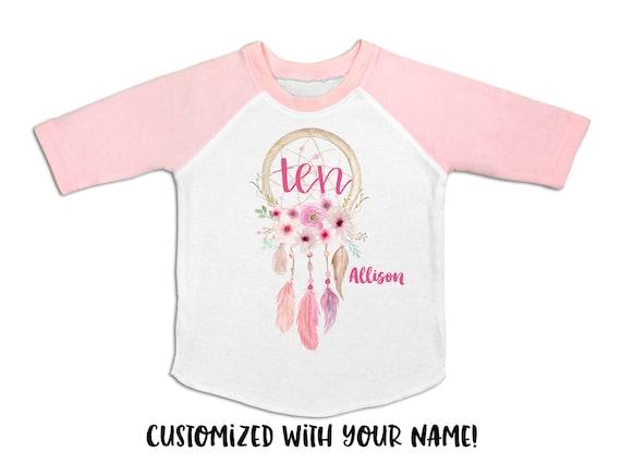 Dreamcatcher Girl/'s 5th Birthday Shirt Girl/'s 5th Birthday Outfit Five Shirt Girl/'s 5 Shirt Pink and Gold 5th Birthday Raglan Floral Wreath
