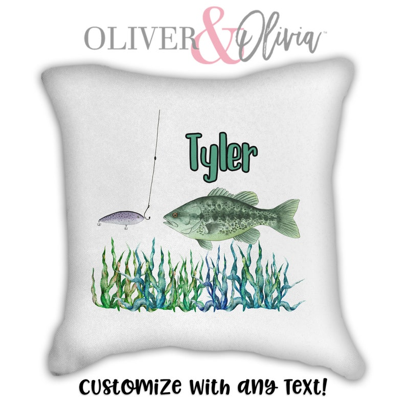 Personalized Fish Pillow Customized with Any Text White Pillow Case Personalized Pillow Personalized Fishing Pillow Gift