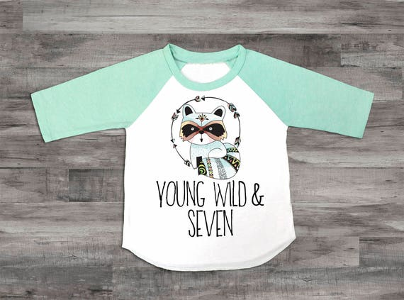 Boys 7th Birthday Shirt Young Wild And Seven