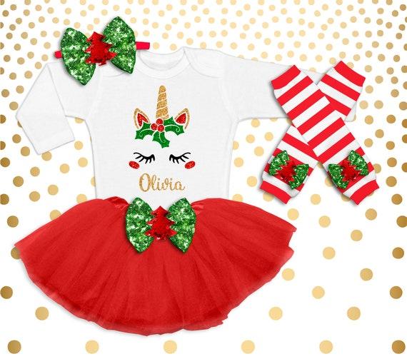 image 0 - Unicorn Christmas Tutu Set Outfit Baby Girl Girl Christmas Etsy