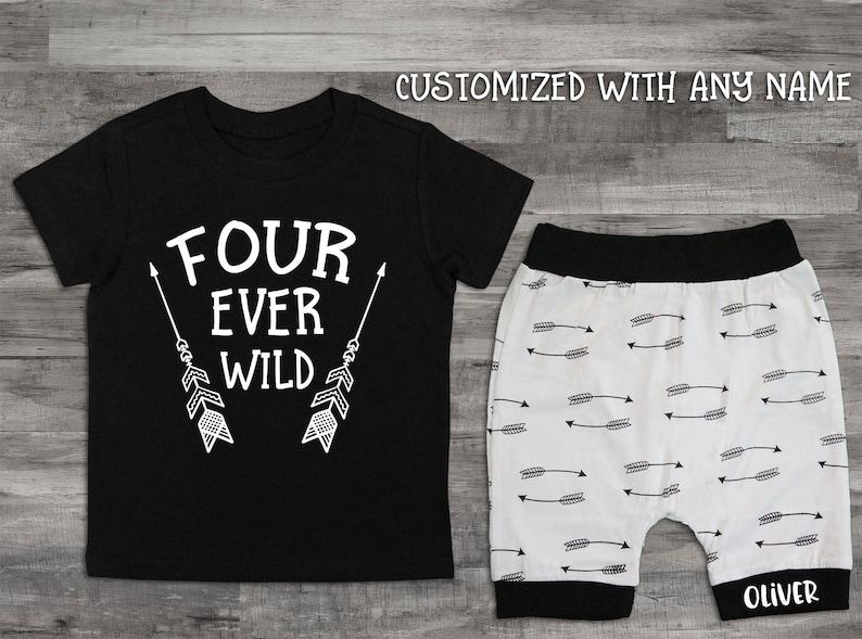 Boy Clothes 4th Birthday Shirt Four Ever Wild