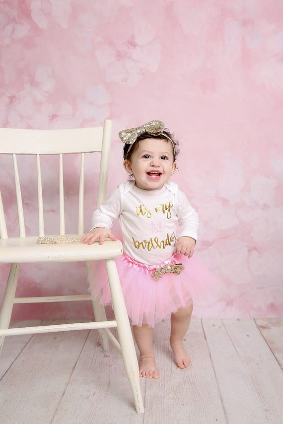 Baby Girl 1st Birthday Outfit It/'s My 1st Birthday Girl Outfit Cake Smash Outfit Baby Girl Shirt Mint and Gold 1st Birthday  Set