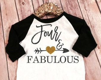 Fabulous and Four Birthday Black sleeved raglan Shirt, Birthday Shirt Baby Girl 4th Birthday Shirt Girl Fourth Birthday Shirt 4th Birthday