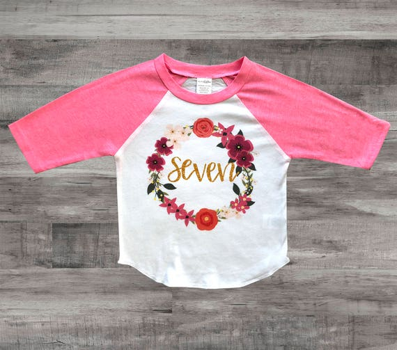 Girls 7th Birthday Outfit Seven Shirt 7 Year
