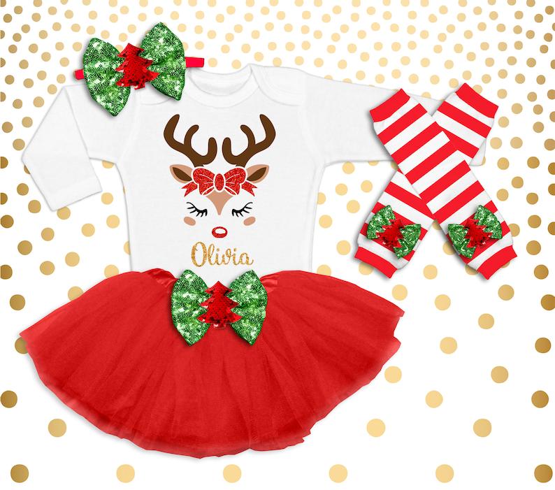 Reindeer Christmas  Set Outfit Baby Girl Girl Christmas Outfit image 0