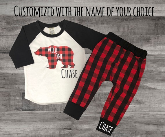 Wild One Shirt Baby Boys 1st Birthday Outfit Buffalo Plaid