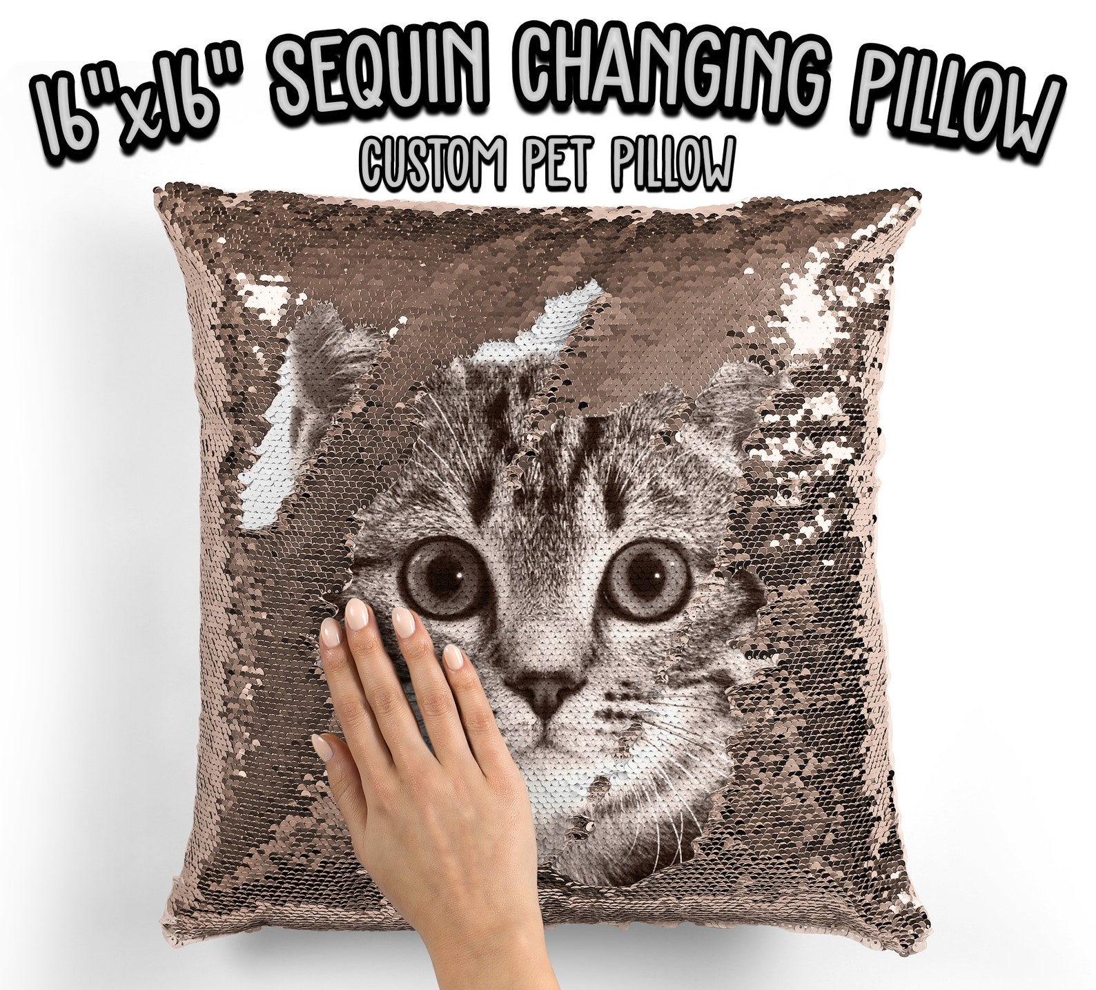 Personalized Sequined Cat Pillow