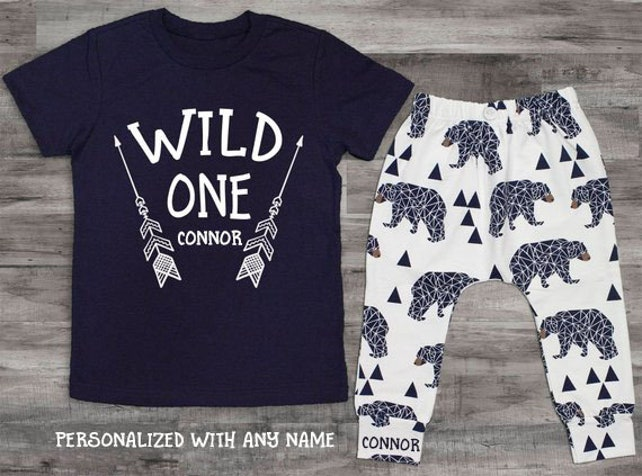 Baby Boy Clothes Wild One Birthday First 1st Tee Shirt