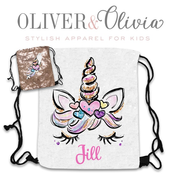 Personalized Sequin Unicorn backpack Girls Bag Party Favor Birthday Gift Girls Unicorn Drawstring Backpack