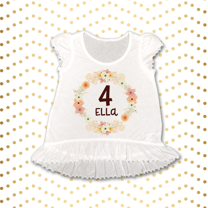 4th Birthday Personalized name shirt Baby Girl Clothes 4th Birthday Shirt First Birthday Ruffle Top Birthday Top Floral 4th Birthday Top