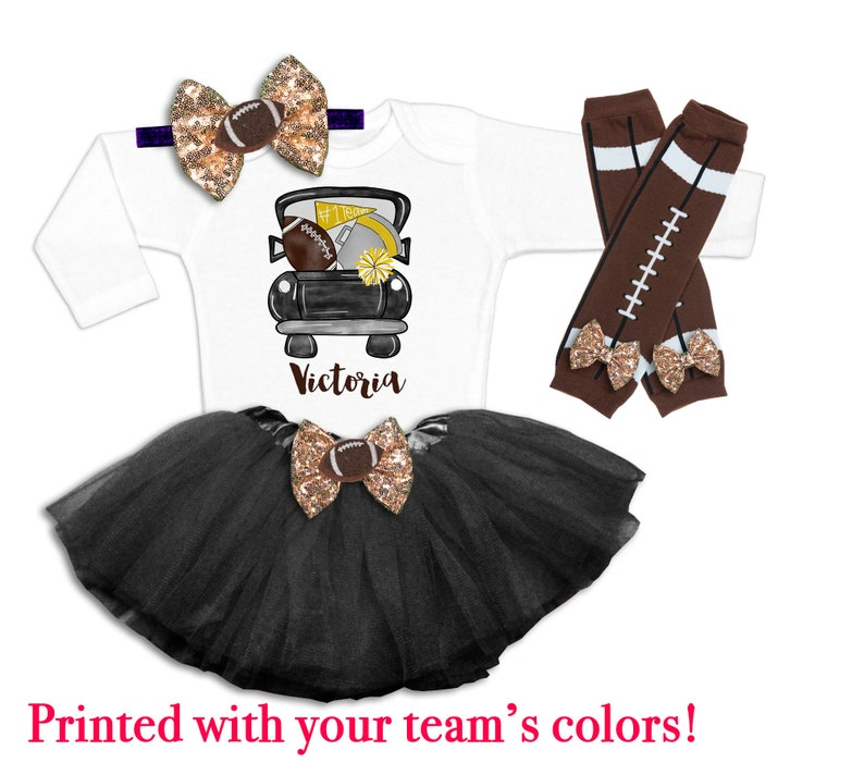 Baby Girl Football Tutu Baby Girls Football Outfit Girls Football Season Shirt Tutus and Touchdowns Sunday Football Outfit Football Season