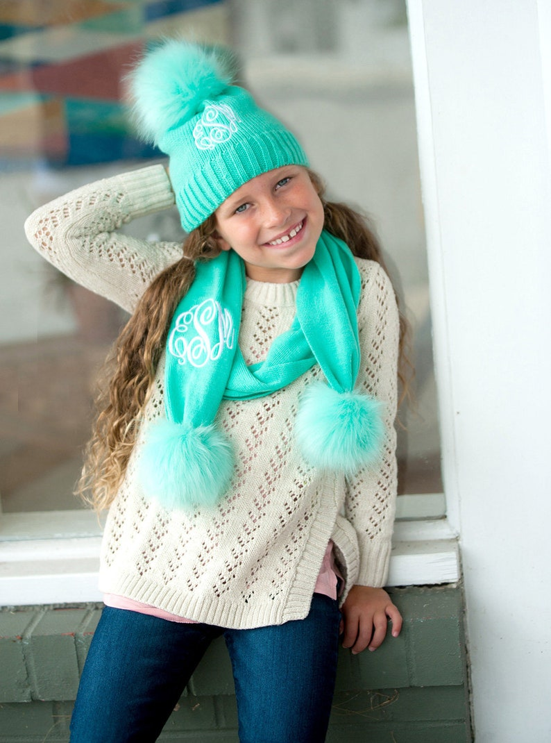 Monogrammed Hat and Scarf Personalized Kids Hat and Scarf image 0