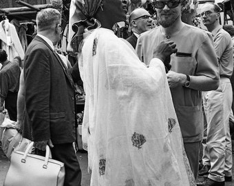 London England travel photo, Portobello Road market, Beatles era, black and white photo, swinging 60s, Notting Hill, vintage hippie photo