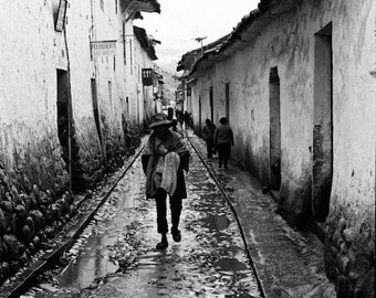 Peruvian Andes, 1970s Cusco Peru, street of Cusco, black and white photo, vintage photo, People of Peru, native man, travel photography