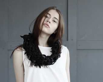 Extravagant leather necklace/ hand knitted leather cowl/ avant-garde leather necklace
