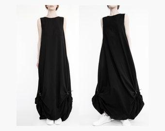 0d2523d431 Avant-garde maxi dress with leather elements  loose maxi dress  draped dress   parachute dress  deconstructed dress  asymmetrical black dress
