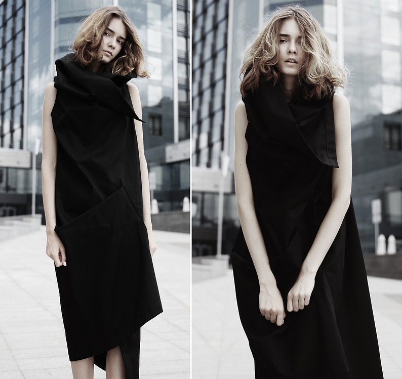 a9b5385c357666 Asymmetrical black dress  avant-garde maxi dress