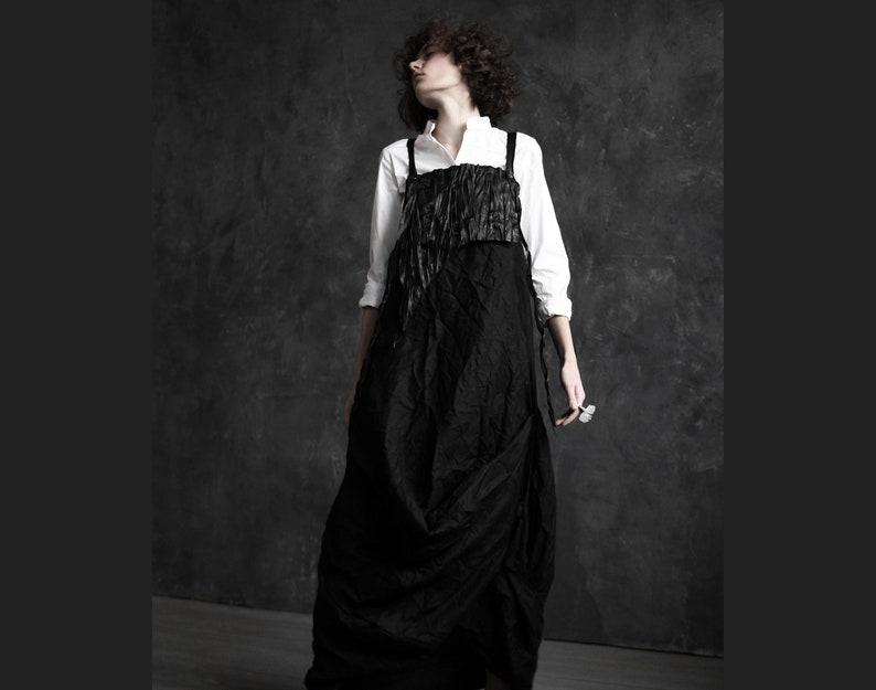 Avant-garde linen dress with leather top deconstructed linen dress futuristic jumpsuit cyberpunk dresspost-apocalyptic dressburning man