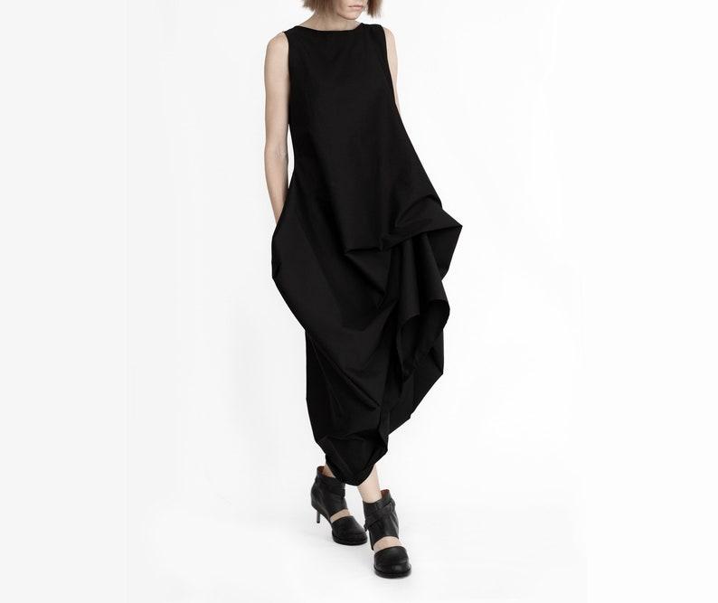 Avant-garde black draped maxi dressBlack lagenlook parachute dressasymmetrical black gothic dressfuturistic wedding dressparachute dress
