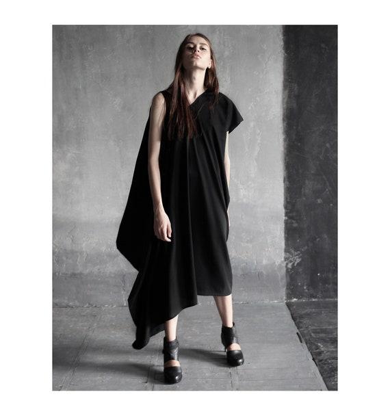 bebb10c42a Asymmetrical black one sleeve dress  extravagant black maxi