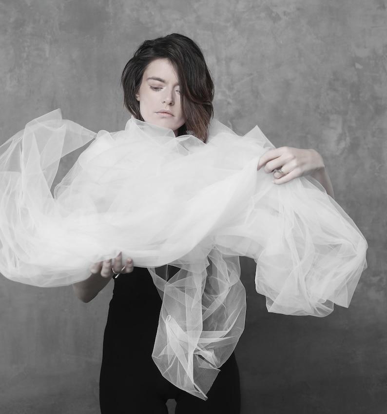 Futuristic white tulle scarf wrap  cyberpunk sheer cloak  Post-apocalyptic scarf  fantasy stage wear  harajuku fashion  halloween gown