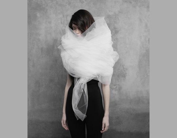 fantasy fairy gown Futuristic cyberpunk tulle wrap avant-garde shawl wrap