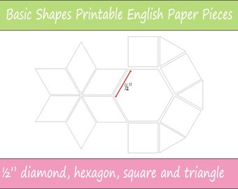 1 5 Printable Basic Shapes For English Paper Piecing Etsy