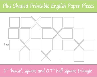 2 Printable Plus Shaped Pieces For English Paper Piecing Etsy