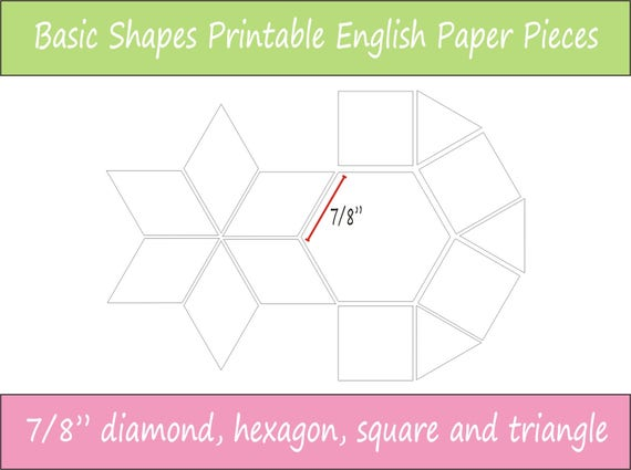 7 8 Printable Basic Shapes For English Paper Piecing Etsy