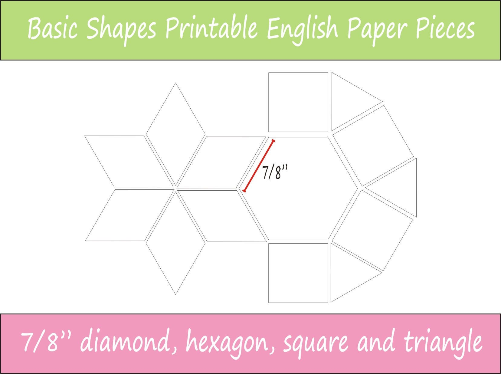 7/8 Printable Basic Shapes For English Paper Piecing