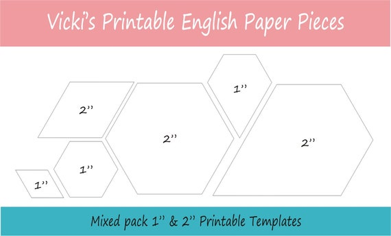 1 2 Printable Mixed Shapes For English Paper Piecing Etsy