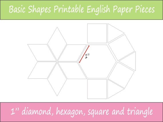 1 Printable Basic Shapes For English Paper Piecing Epp Etsy