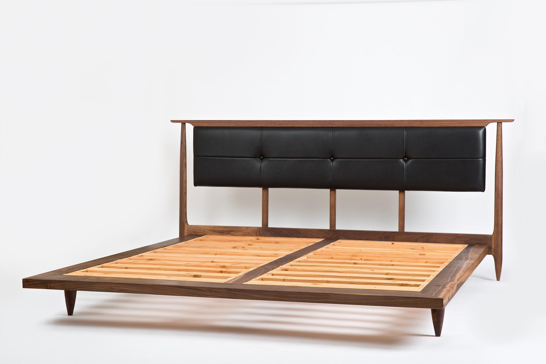 Mid Century Modern Platform Bed Solid Wood Bed Platform Bed Modern Bed Upholstered Headboard Bed No 3 5