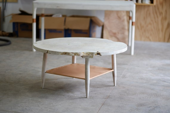 Bleached Maple Round Coffee Table White Wood Coffee Table Etsy