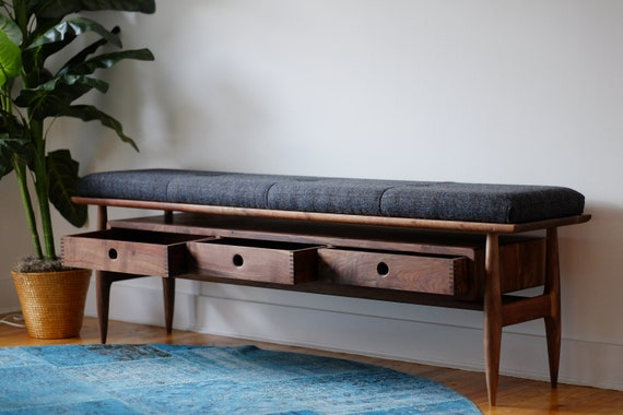 Mid Century Modern Entryway Bench Upholstered Wood Hallway Etsy,Attractive Paint Color For Small Bedroom Walls