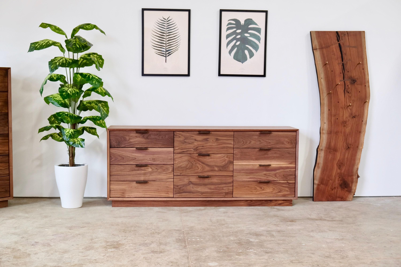 11 Drawer Solid Walnut Dresser Mid Century Modern Bedroom Etsy