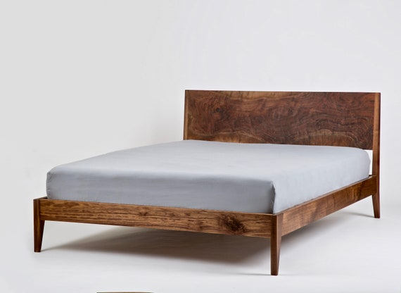 Solid Wood Platform Bed Handmade Mid Century Modern Bedframe And Headboard Made To Order Furniture King Queen Full Or Twin Size
