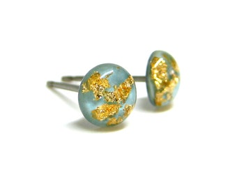 Baby Blue Gold Flake Stud Earrings, Tiny Stud Earrings, Hypoallergenic, Pure Titanium, Canadian Shop, Wedding Jewelry, Cute Gift Idea