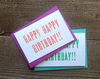 "Letterpress Cards ""Happy Happy Birthday!!"" 4 pack"