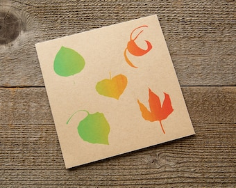 Screen Printed Card Autumn Leaves