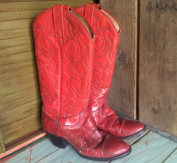 Vintage Cowboy Boots, Red, Dan Post